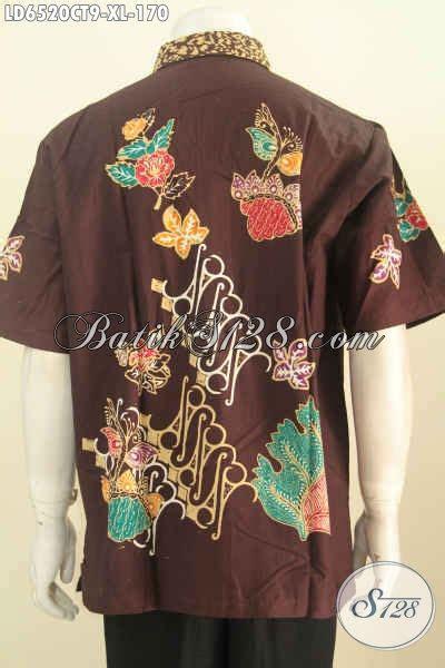 hem batik terbaru untuk pria baju batik lelaki lengan pendek dasar coklat