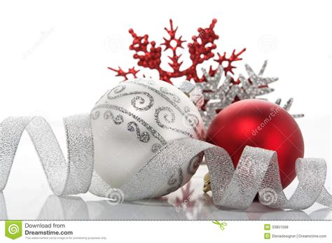 red  silver xmas decoration stock photo image