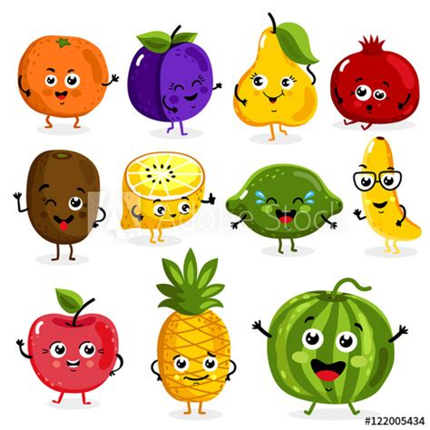 cartoon funny fruits characters isolated  white