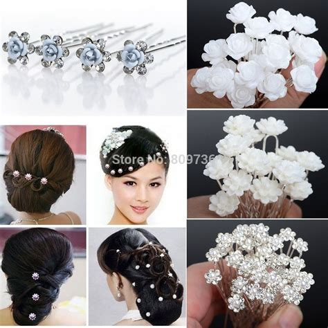 20/40PCS Wedding Bridal Pearl Hair Pins Flower Crystal