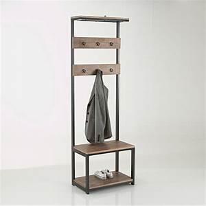 meuble d39entree hiba bois metal la redoute interieurs la With meuble entree avec miroir 7 porte manteau metal avec miroir agama la redoute