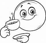 Coffee Coloring Smiley Emoticon Printable Wecoloringpage Sheets Face sketch template