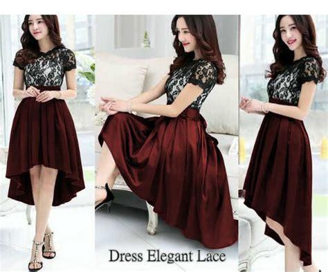 dress pendek elegan lace tosca model terbaru cantik