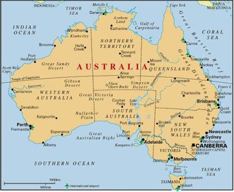 Carte Australie Ville by Map Of Australia With Cities Free Printable Maps