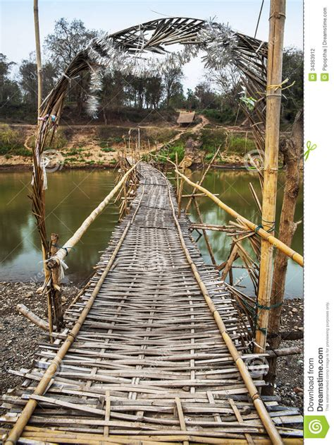 bamboo bridge  mekong river country site luang