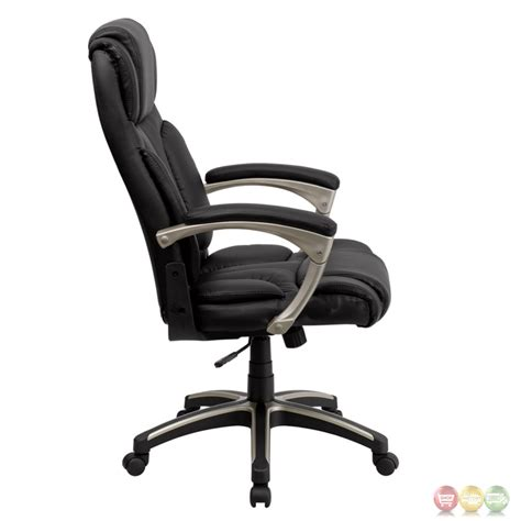 high back folding black leather executive office chair bt