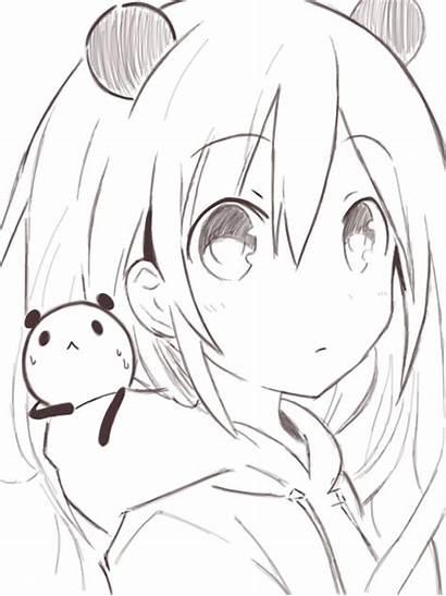 Hoodie Panda Kawaii Anime Hair Short Monochrome