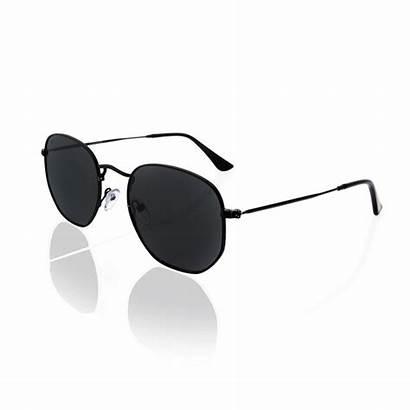 Sunglasses Hexagon Lenses Polarized Metal Pink Frame
