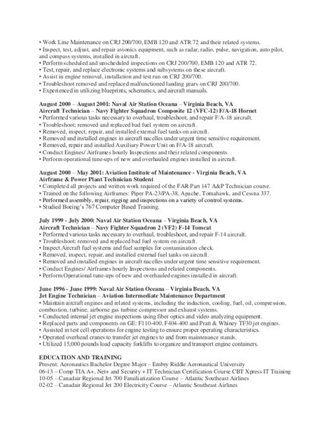 Avionics Resume by Oneal Brown A P And Avionics Technician Resume