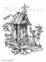 Drawings Outhouse Coloring Redneck Sketch Outhouses Template Sketches Stamps sketch template