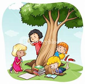 Children reading and writing under the tree Royalty-Free ...