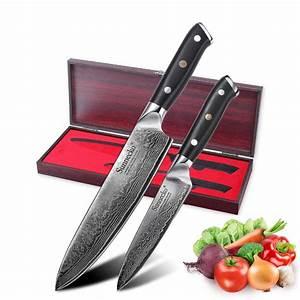 Sunnecko, 2pcs, Kitchen, Knives, Set, Damascus, Chef, Utility, Knife, With, Gift, Box, Japanese, Vg10, Steel
