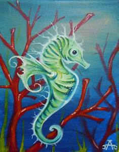 Under the sea Seahorse Acrylic Painting on by ...