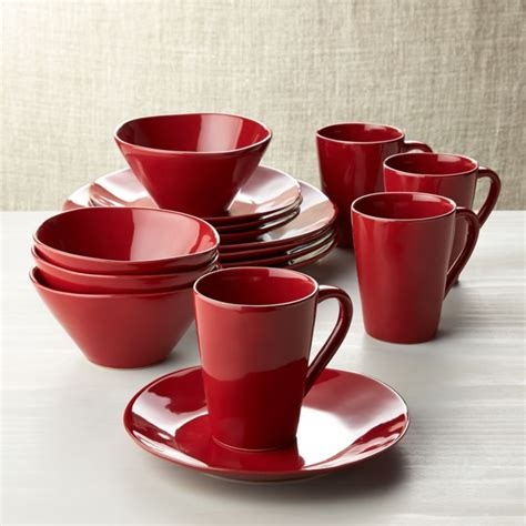 marin red  piece dinnerware set reviews crate  barrel