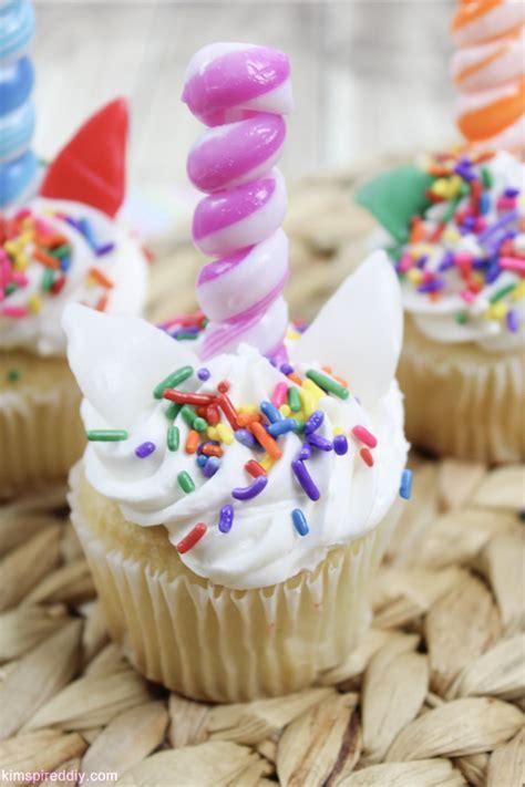 easy unicorn cupcake tutorial  edible horn cupcake toppers
