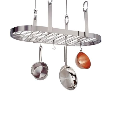 stainless steel pot rack premier four point oval pot rack with grid stainless steel enclume on sale free shipping us48