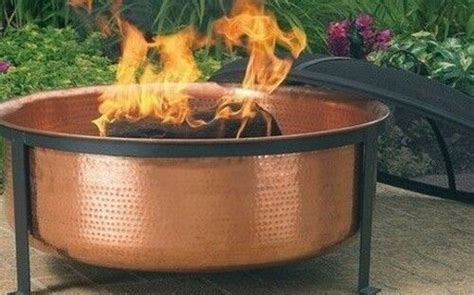 Hammered Copper Fire Pit Grill Set W/ Cover Outdoor Bbq