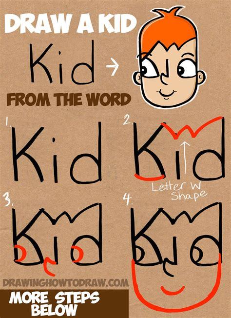 learn   draw  cartoon kid   word kid simple