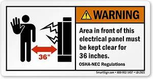 Warning electrical panel area keep clear label sku lb 2921 for Electrical panel warning labels
