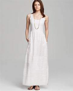 Papell Eyelet Patchwork Maxi Dress In White Lyst