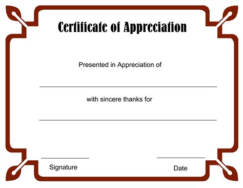 certificate of appreciation template word printable blank certificate template word calendar template letter format printable holidays