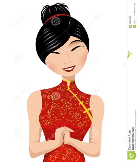 beautiful chinese woman long dress clipart