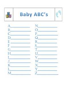 Baby Shower Alphabet Game Answers
