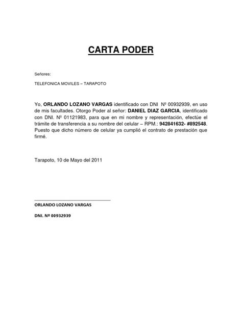 crib sheet carta poder