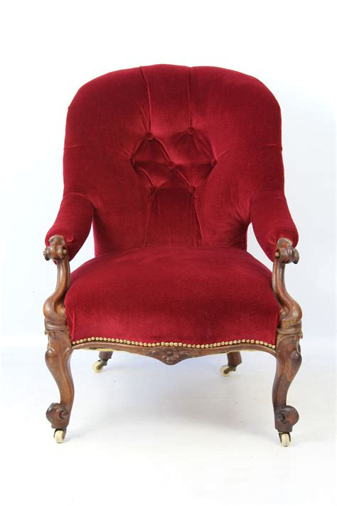 Back Armchair by Small Rosewood Button Back Armchair
