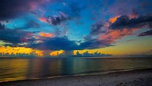 beach, during, sunset, under, blue, dusky, sky, 4k, hd, nature