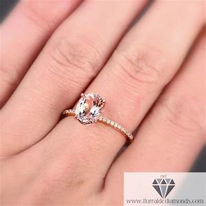 oval cut morganite solitaire diamond pave engagement ring With solitaire engagement ring with pave wedding band