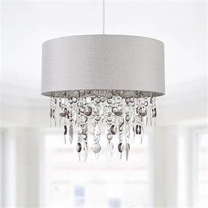 Modern Large 40cm Easy Fit Jewelled Grey Ceiling Light