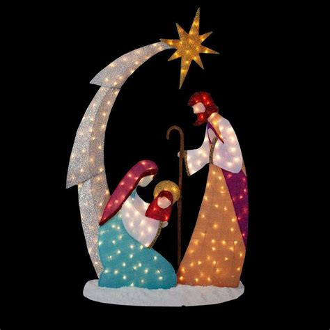 Outdoor Lighted Nativity by New 6 Ft Pre Lit Lighted Tinsel Nativity Outdoor