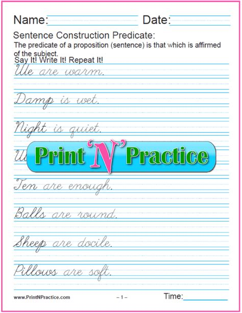 predicate nominative worksheets practice printables