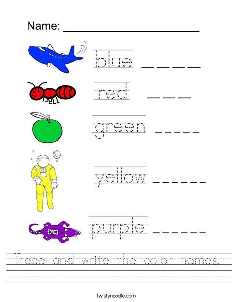 trace  write  color names worksheet twisty noodle