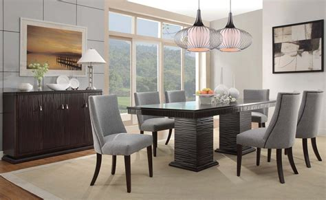 modern formal dining room set rectangular white fabric