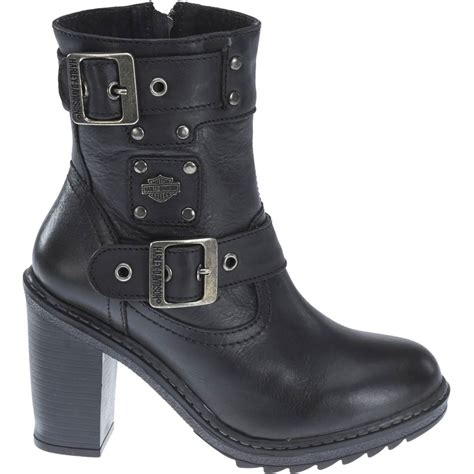 Harley Davidson Ludwell Ladies Biker Boots Black Leather