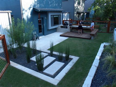 Backyard Styles by Modern Small Backyard Design With Kitchen Dining And