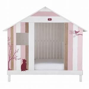 Lit Maison Bois : lit cabane enfant 90 x 190 cm en bois rose et blanc ~ Premium-room.com Idées de Décoration