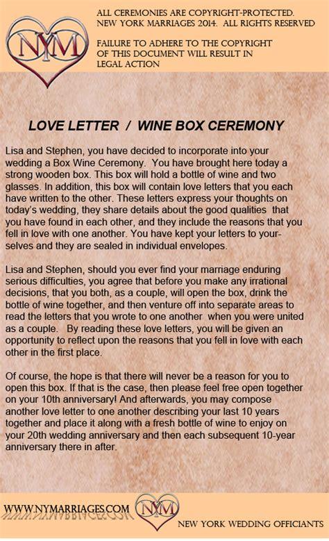 sample love letter wine box ceremony unique wedding