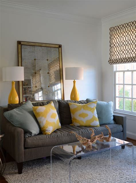living room gray and yellow black yellow and gray room contemporary living room janie molster design