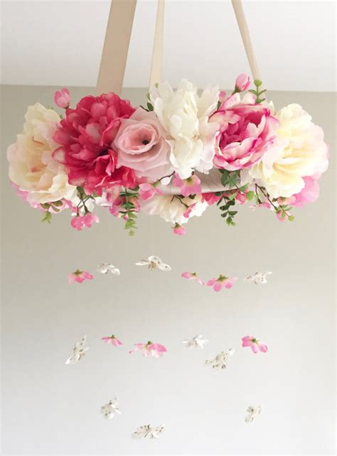 picture of diy floral mobile flower mobile baby mobile floral mobile nursery mobile
