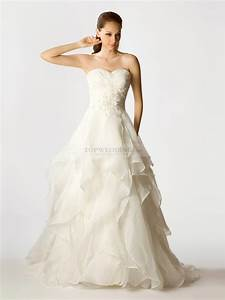 appliqued organza wedding dress with asymmetrical layers With organza wedding dress
