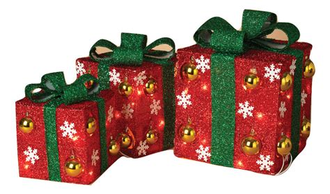 set of 3 lit gift boxes set of 3 lighted lighted gifts gift boxes lights tinsel decor ebay