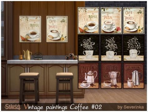 sims  severinka vintage paintings set coffee time