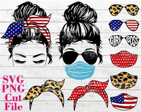 Set of digital download messy bun bandana mom life svg cut files for your creative diy projects, and home decorations. Girl Face Messy Bun SVG Vector Cut File Sunglasses Mask | Etsy