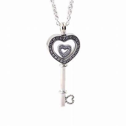 Necklace Floating Heart Silver Locket Sterling Key