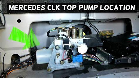 mercedes  clk convertible top hydraulic pump location