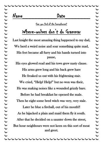 halloween homophone poem teaching resources homophones