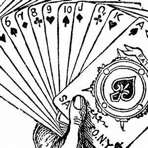 Vintage, Joker, Hand, Holding, Playing, Cards, Engraving